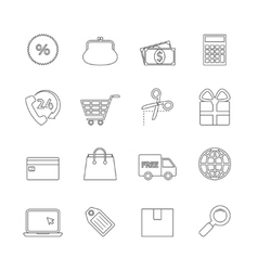 Shopping Thin Line Icons vector image vector image