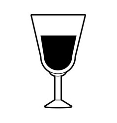 Sketch silhouette image glass cup with wine vector