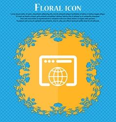 Window icon sign floral flat design on a blue vector