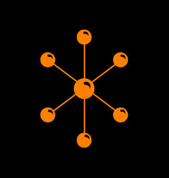 molecule sign orange icon on black vector image