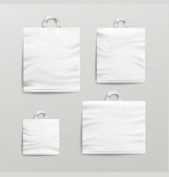 plastic shopping bags set white empty mock vector image vector image