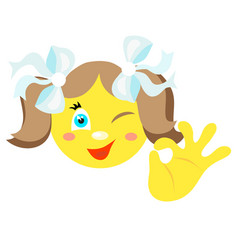 smiley girl with a gesture ok vector image vector image