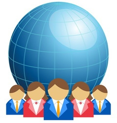 Business men and women with globe vector image vector image