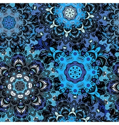 Deep blue colored seamless pattern with eastern vector image vector image
