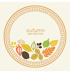 design round element with autumn leaf decorative vector image