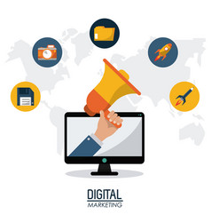 digital marketing technology remote business vector image vector image