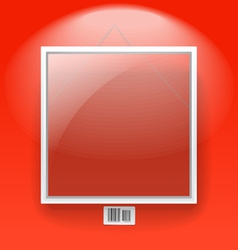 Glass board with white frame on a red wall vector image vector image
