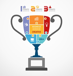 infographic Template with trophy jigsaw banner vector image
