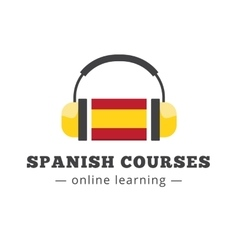 spanish courses logo concept with flag and vector image