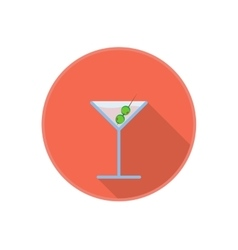 symbol of pink martini drink with olives vector image