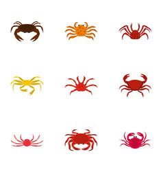 types of crab icons set cartoon style vector image vector image