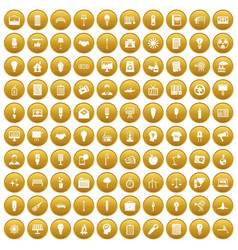 100 lamp icons set gold vector