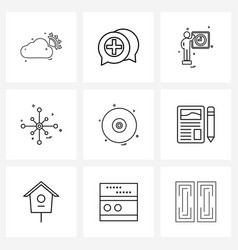9 editable line icons and modern symbols disk vector