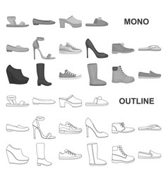 A variety of shoes monochrom icons in set vector