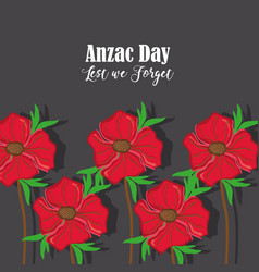 Anzac holiday memorial with natural rose vector