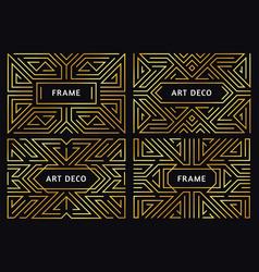 art deco frames vintage golden line border vector image