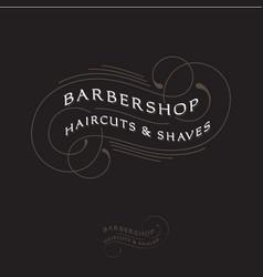 barbershop logo calligraphy composition lettering vector image