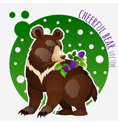 Bear with blackberries on white-green background vector image