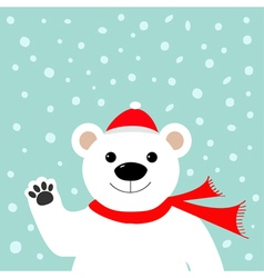 Big white polar bear in santa claus hat and scarf vector image