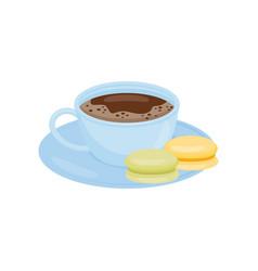 Blue mug of hot coffee or tea with tasty macaroons vector