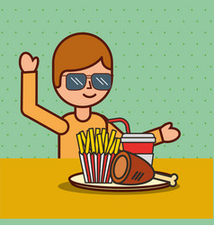 boy cartoon eating french fries chicken and soda vector image
