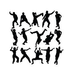 breakdance hip hop silhouettes vector image