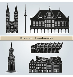 Bremen landmarks and monuments vector