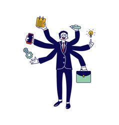 Business man with many hands multitasking and self vector