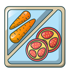 Carrot on tray icon cartoon style vector