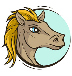 cartoon cute handsome horse head icon vector image