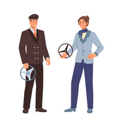 chauffeur or taxi drivers man and woman in uniform vector image