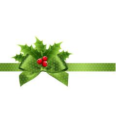 christmas decoration with holly leaves and bow vector image