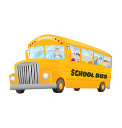 classic american old school bus kids riding on vector image