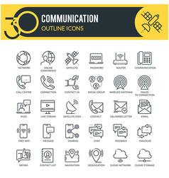 communication icons set outline icons vector image