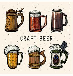craft beer retro style beer mugs engraving hand vector image