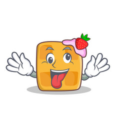 Crazy waffle character cartoon design vector