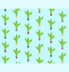 cute cartoon pattern with colorful cacti vector image