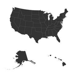 detailed map of usa including alaska and hawaii vector image