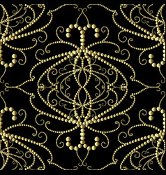 dotted gold 3d damask seamless pattern vector image
