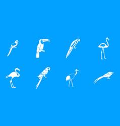 exotic birds icon blue set vector image