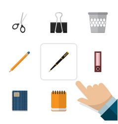 Flat icon stationery set of dossier copybook vector