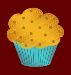 flat shading style icon muffin vector image
