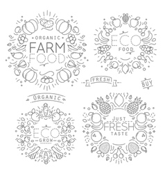 Fruits Vegetables Monograms vector image