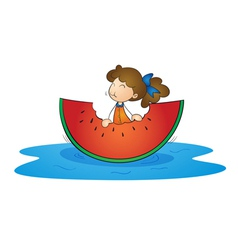 girl eating watermelon vector image
