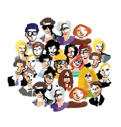 Group people art faces crowd isolate on white vector