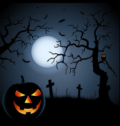 Halloween poster with grinning pumpkin and vector