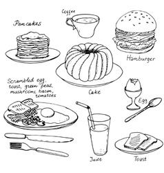 Hand drawn breakfast set vector
