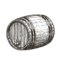 Hand drawn wooden oak barrel wine whisky beer vector