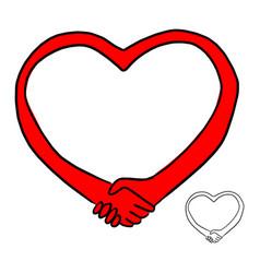 Handshake in shape red heart vector