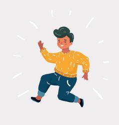happy boy jump vector image